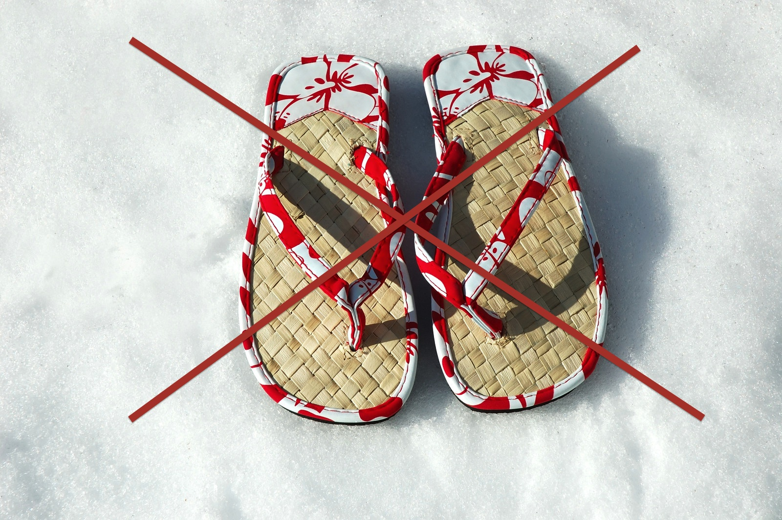 no more flip flops in snow